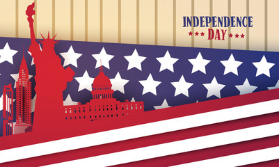 American Famouse Monuments Over Flag Background United States Independence Day Holiday Greeting Card Flat Vector Illustration