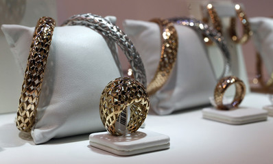 Jewellery are seen on stand at the Valenza international jewels exposition in Valenza