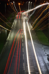 Traffic light trails with a zoom burst