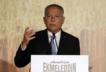 Turkish main opposition presidential candidate Ekmeleddin Ihsanoglu speaks during a news conference to start his election campaign in Istanbul