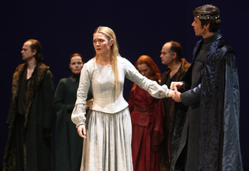 """Knof performs as Cordelia and Philipp as the King of France during a dress rehearsal of """"King Lear"""" at Burgtheater theatre in Vienna"""