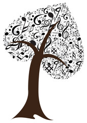 Music note with music tree