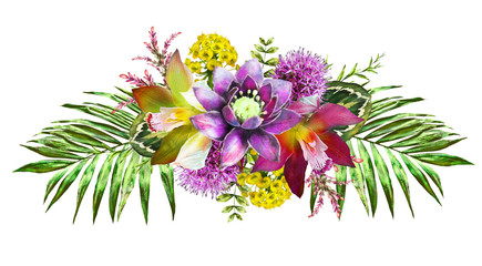 Tropical watercolor flowers. card with floral illustration. Bouquet of flowers isolated on white background. Leaf, butterfly and buds. Exotic composition for invitation