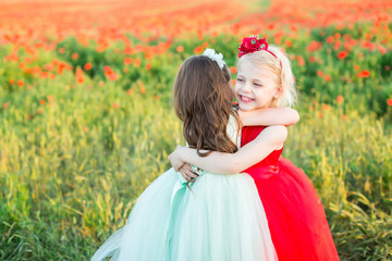 countryside, health, friendship, freedom, childhood, weekends concept - small fascinating fair-haired girl hugging her friend in light blue dress, they are sorrounded by poppies