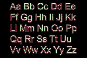 Neon alphabet all letters