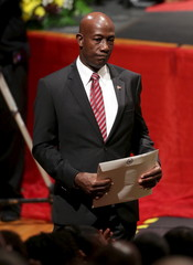Keith Rowley, newly sworn-in prime minister of Trinidad and Tobago, walks back to his seat in Port-of-Spain