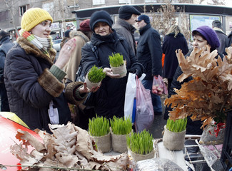 A woman sells dried oak branches and wheat, symbols of the traditional Yule log, in Belgrade