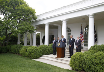 U.S. President Barack Obama makes a statement announcing a plan to crack down on manipulation in oil markets, in the Rose Garden of the White House in Washington