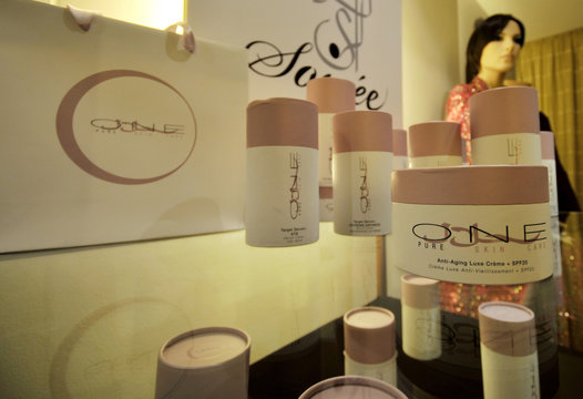 One Pure Halal Skincare products are displayed at a salon in Dubai