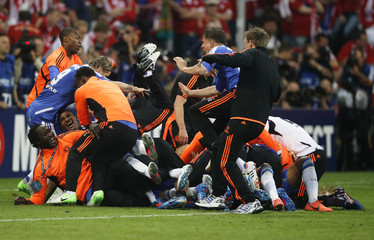 Chelsea players celebrate victory in their Champions League final soccer match against Bayern Munich at the Allianz Arena in Munich