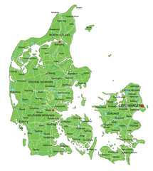 High detailed Denmark physical map with labeling.