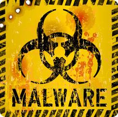 computer virus, malware alert sign, vector illustration