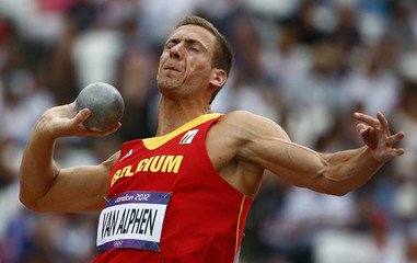 Belgium's Hans van Alphen competes in the men's decathlon shot put event at the London 2012 Olympic Games at the Olympic Stadium