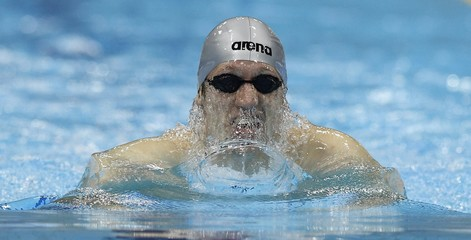 Carnol of Luxembourg competes in the men's 200m breaststroke heats at the British Gas Swimming Championships in London