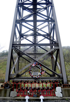 A memorial made by local residents to honor the 29 West Virginian coal miners that lost their lives on April 5, 2010 in the Upper Big Branch mining disaster is seen along Route 3 near Whitesville