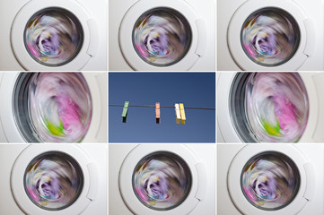Collage of washing machine door with rotating garments inside
