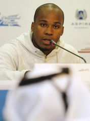 Dix of the U.S. speaks during a news conference for the Diamond League athletics meet in Doha