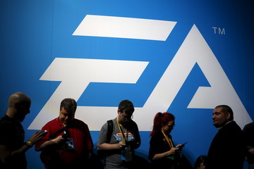 An Electronic Arts (EA) video game logo is seen at the Electronic Entertainment Expo, or E3, in Los Angeles