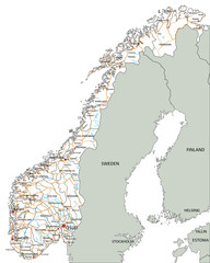 High detailed Norway road map with labeling.
