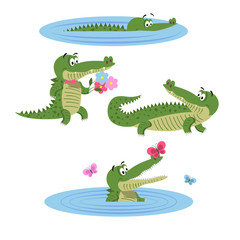 Cartoon Crocodiles on Nature Isolated Illustration