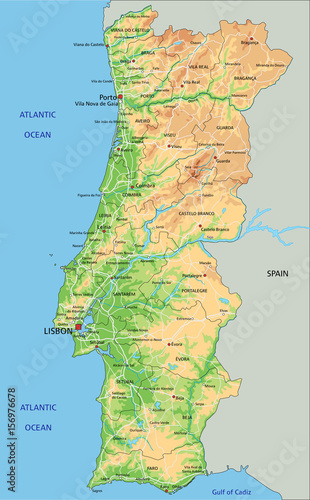 High Detailed Portugal Physical Map With Labeling Stock Image - Portugal physical map