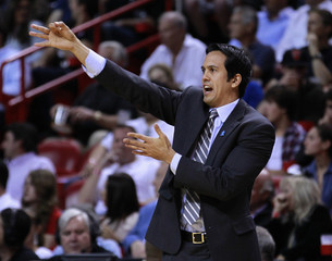 Miami Heat head coach Spoelstra directs his team as they met the New York Knicks during NBA basketball game in Miami