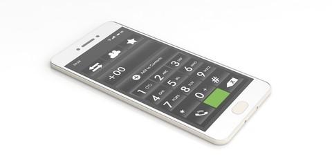 Smartphone number keypad on white. 3d illustration