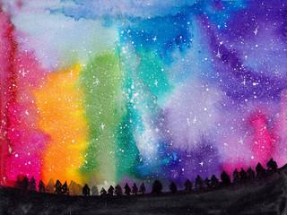 Rainbow galaxy watercolor landscape