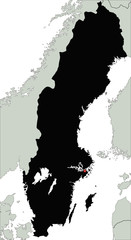 Highly Detailed Sweden Silhouette map.