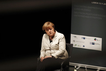 German Chancellor Angela Merkel holds a meeting with Portuguese-German businessmen in Lisbon