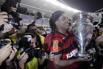 Ronaldinho of Flamengo celebrates after winning a penalty kick shootout against Vasco da Gama during their Rio Cup soccer final match in Rio de Janeiro