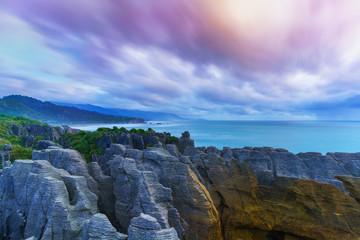 Beautiful Pancake Rocks and Blowholes are located in Paparoa National Park , Punakaiki , South Island of New Zealand
