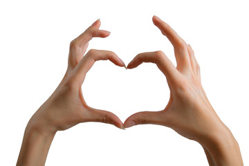 Hands show the shape of a heart