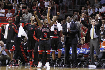 Chicago Bulls' Robinson, whose team was leading, reacts to the Miami Heat's called timeout in the closing minutes of their NBA basketball game in Miami, Florida