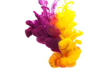 Abstract yellow and violet ink in the water as smoke, isolated on white background