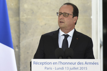 French President Francois Hollande delivers a speech during a reception in honour of the French Army Forces at the Interior ministry in Paris