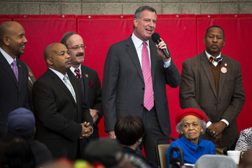 Democratic New York City mayoral candidate Bill de Blasio speaks to senior citizens at a campaign stop in New York
