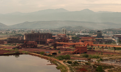 A general view of the bauxite processing plant in Montenegro's Kombinat Aluminijuma Podgorica aluminium factory in Podgorica