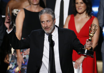 """Jon Stewart accepts the award for Outstanding Variety Talk Series for Comedy Central's """"The Daily Show with Jon Stewart"""" at the 67th Primetime Emmy Awards in Los Angeles"""
