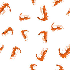 Cooked Red Shrimps Seamless Pattern on White Background. Exquisite Sea Food.