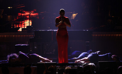 Singer Alicia Keys performs onstage in a tribute to honree Halle Berry at the BET Honors in Washington