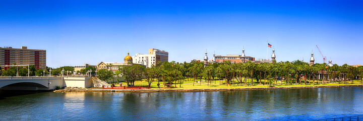 Buildings of the University of Tampa and the Hillsboro River in this Florida city