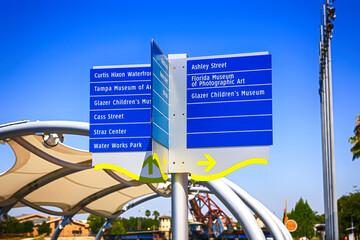 Pedestrian destination signs on the Riverwalk in downtown Tampa FL
