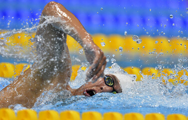 Arturo Perez Vertti Ferrer of Mexico swims in the men's 1500m freestyle heats during the London 2012 Olympic Games at the Aquatics Centre