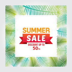 Vector of summer sale discount up to 50 % poster design template with tropical background.