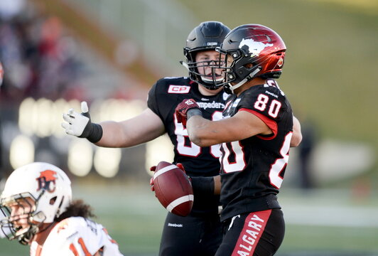 Calgary Stampeders' Quinn Smith celebrates with Eric Rogers after Rogers' touchdown catch at the goal line against the BC Lions during first half of the CFL western semi-final football game in Calgary