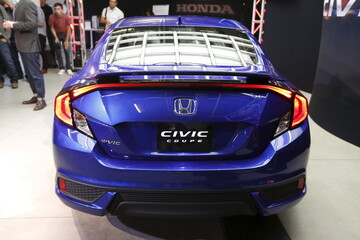 The 2016 Honda Civic Coupe is unveiled at the Los Angeles Auto Show in Los Angeles
