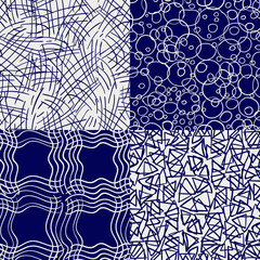 Ballpoint drawing seamless pattern collection. Vector hand drawn abstract seamless texture set