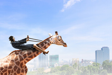 Wall Mural - Businesswoman ride giraffe. Mixed media