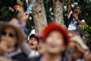 Anti-government protesters cheer during a rally in Bangkok